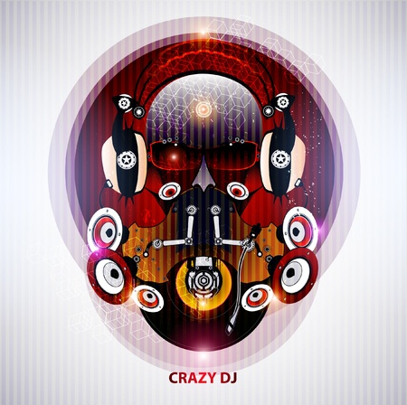 robot head: Crazy DJ with glasses and headphones