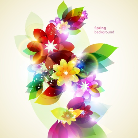 artistic flower: Abstract spring background  Illustration