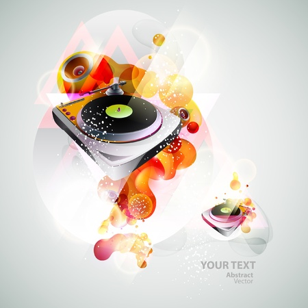 Turntable   loudspeakers Vector