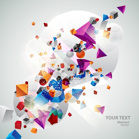 Background of 3d geometric shapes  Vector