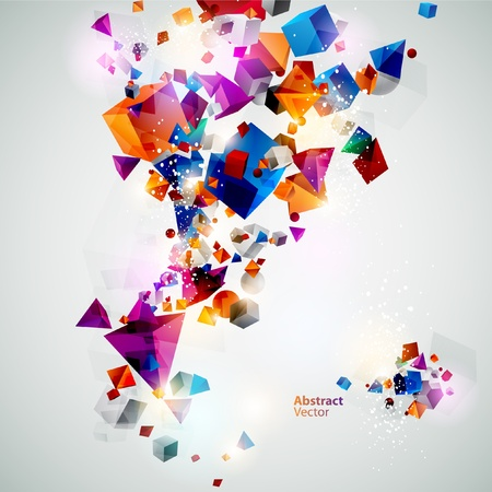 cool background: Background of 3d geometric shapes  Illustration
