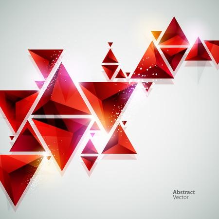 삼각형: 추상 빨간색 3D 배경 일러스트