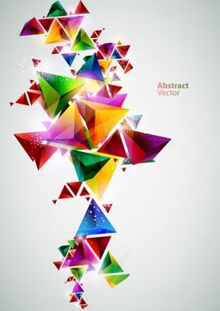 geometric background: Las composiciones de tri�ngulos de colores Vectores