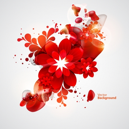 Red Flower with abstract elements Illustration