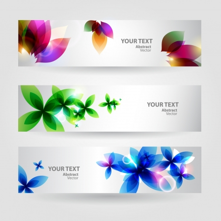 Flower background brochure template  Set of floral cards Vector