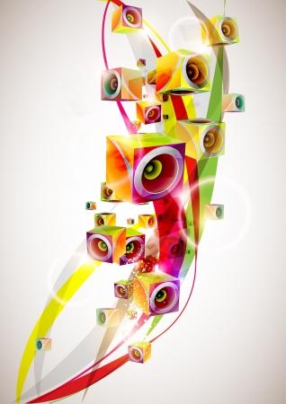 audio electronics: abstract music background Illustration