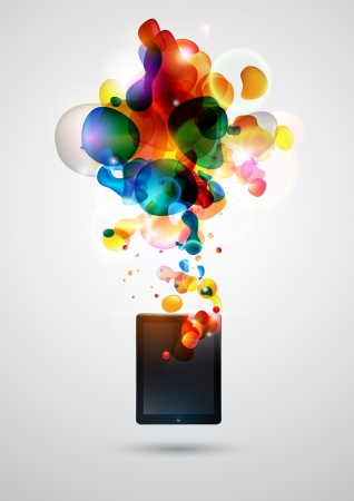 pc: Abstract background with tablet computer  Illustration