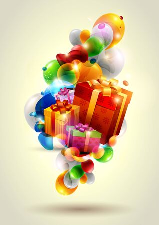 Christmas colorful gifts Vector