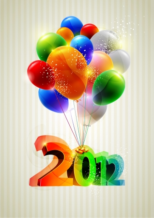New year poster with balloons  Vector