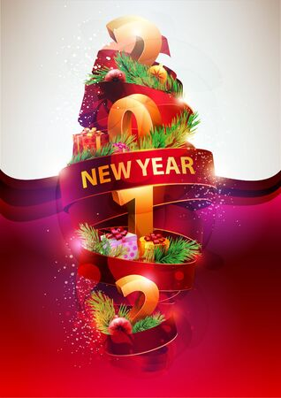 A wonderful New Year s poster  Vector