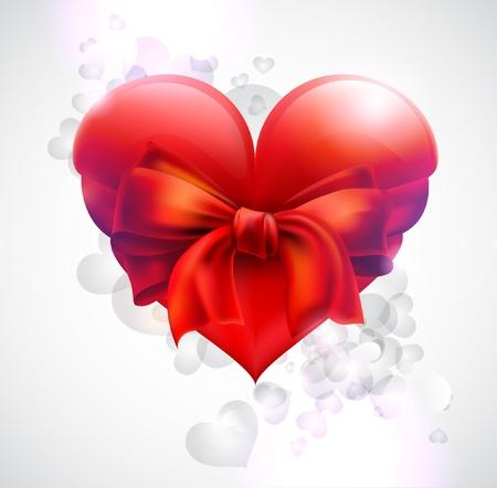 cuore: Cuore con fiocco rosso Vettoriali