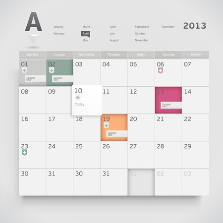 months of the year: Calendar design Illustration