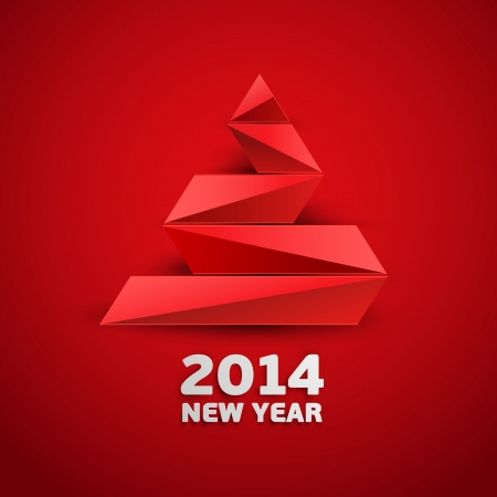 Red abstract christmas tree Vector