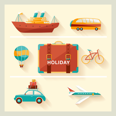 car clothes: Flat design  Summer holiday  Illustration