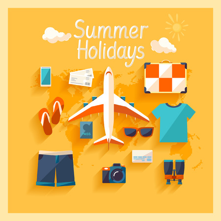 Flat design  Summer holiday  Vettoriali