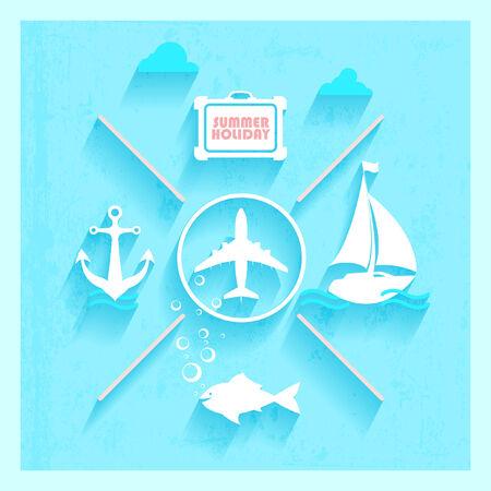 tourist icon: Flat design  Summer holiday  Illustration