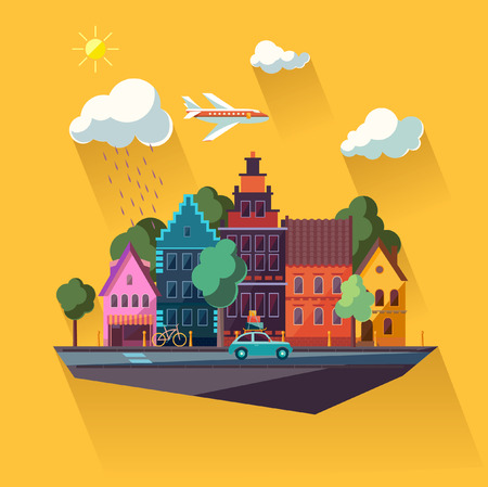 都市景観のフラットなデザイン