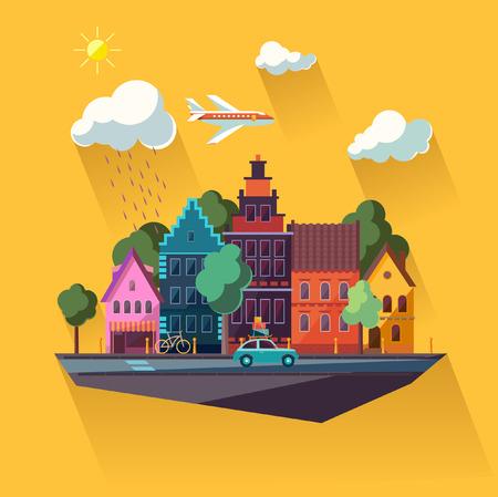 urban colors: Diseño plano Paisaje urbano