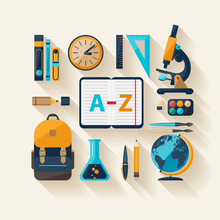 flat brush: School workspace  Modern flat design
