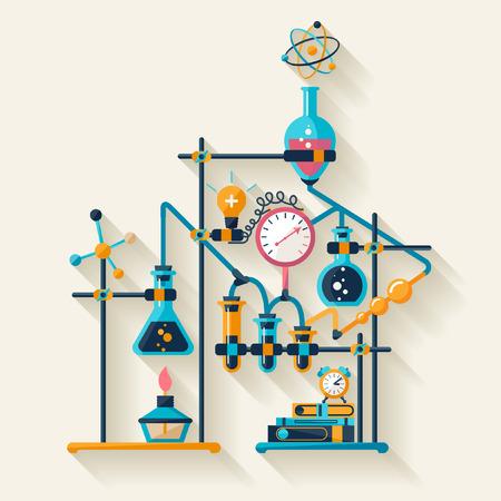 biology: Qu�mica Dise�o plano infograf�a Vectores