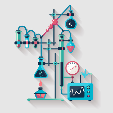 laboratory equipment: Chemistry infographic  Flat design Illustration