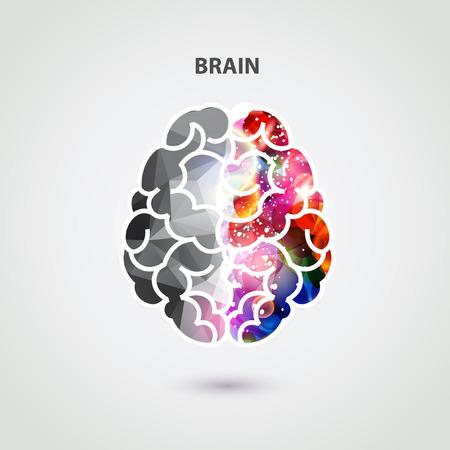 denkender mensch: Linke und rechte Teil des Gehirns Illustration