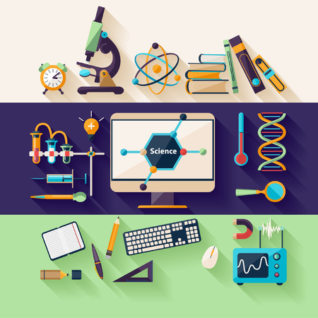 Science and Education. Flat design Vector