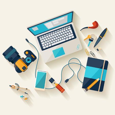 pencils  clutter: Workplace concept. Flat design.