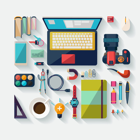 office objects: Workplace concept. Flat design.