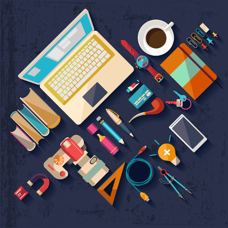 desk top: Workplace concept. Flat design.