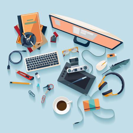 encendedores: Concepto de lugar de trabajo. Diseño plano.