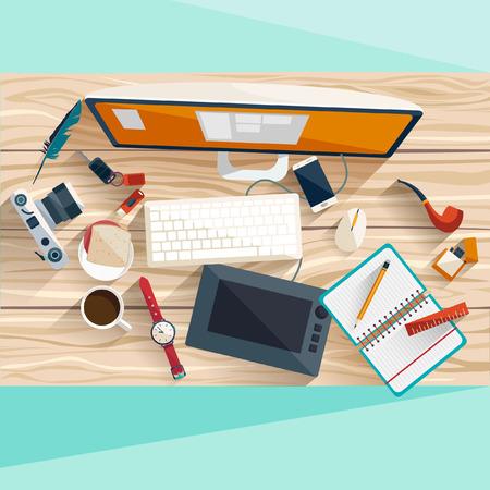 oficina desordenada: Concepto de lugar de trabajo. Diseño plano.