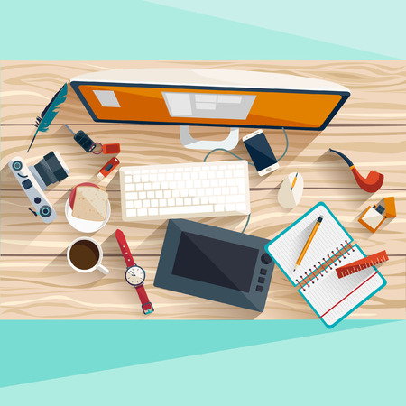 arbol de cafe: Concepto de lugar de trabajo. Dise�o plano.