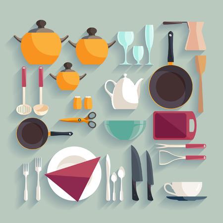 pepperbox: Kitchen workplace. Flat design. Illustration