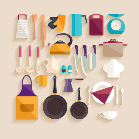 kitchen knife: Lugar de trabajo de la cocina. Diseño plano. Vectores