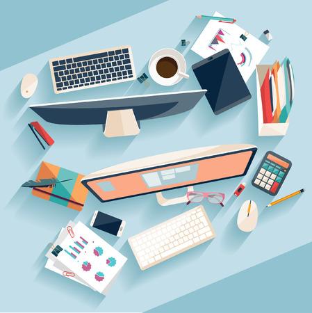 articulos oficina: Concepto de lugar de trabajo. Dise�o plano.