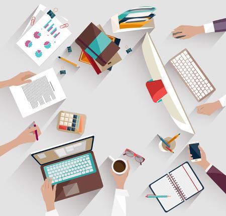 tecnologia: Reunião de negócios e brainstorming. Design plano. Ilustração