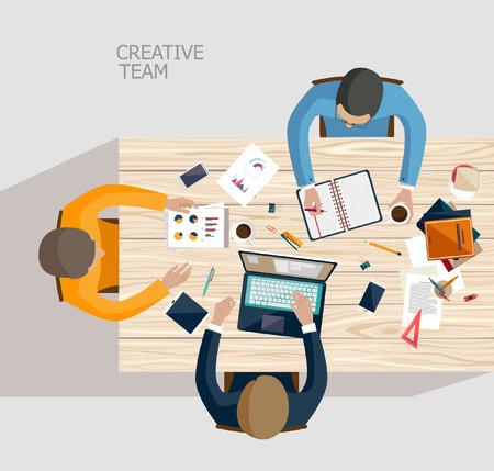 oficina: Reunión de negocios y de intercambio de ideas. Diseño plano.