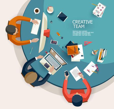 aziende: Incontro di lavoro e di brainstorming. Design piatto.