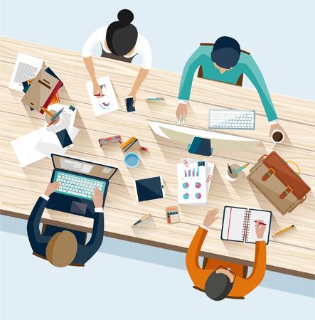 gestion: Reunión de negocios y de intercambio de ideas. Diseño plano.