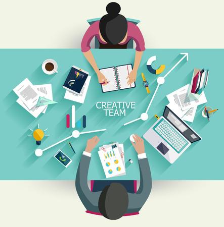 reunion de trabajo: Reunión de negocios y de intercambio de ideas. Diseño plano.
