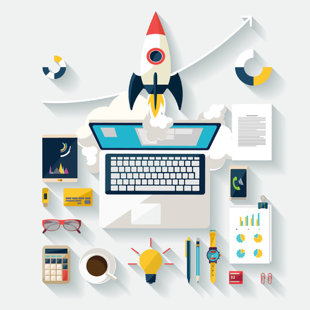 coffee company: Startup concept. Flat design.