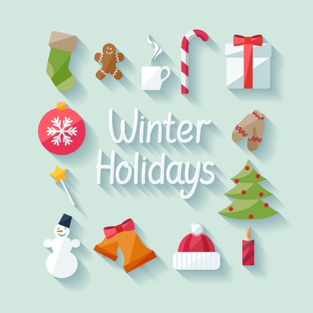 coffee tree: Winter holidays. Flat design. Illustration