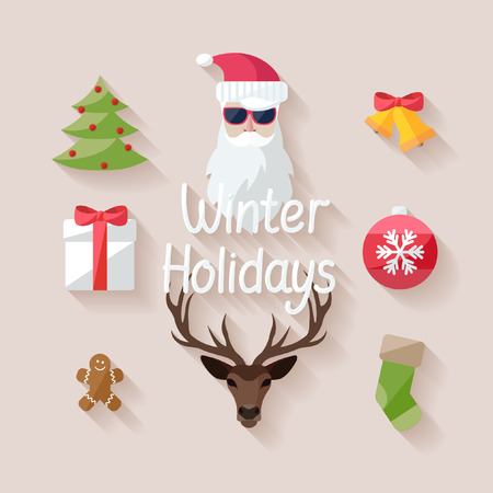 Winter holidays. Flat design. Vector