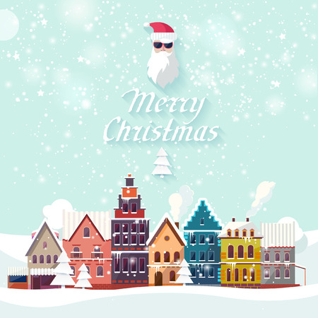 Christmas landscape. Flat design. Vector