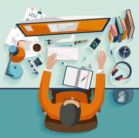 computadora: Concepto de lugar de trabajo. Diseño plano.