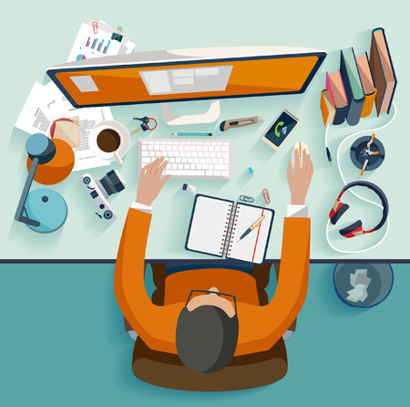 Workplace concept. Flat design. Vector