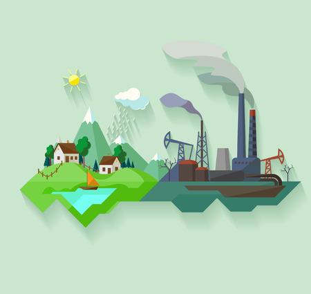 paesaggio industriale: Paesaggio urbano e villaggio. Vettoriali