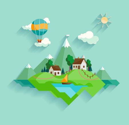 jezior: Krajobraz wsi Ilustracja