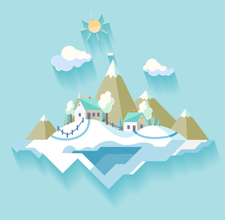 european alps: Winter Village landscape